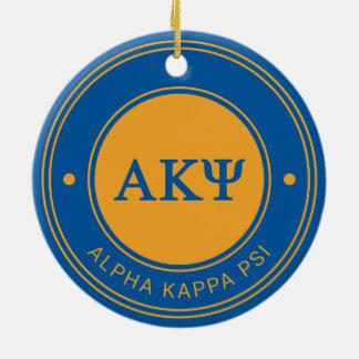 Insignia alfa de Kappa PSI el   Adorno Navideño Redondo De Cerámica