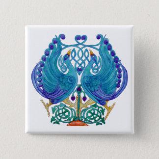 Insignia cuadrada del botón de los pavos reales