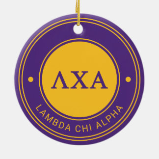 Insignia de la alfa el | de la ji de la lambda adorno navideño redondo de cerámica