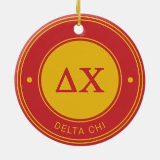 Insignia de la ji el | del delta adorno navideño redondo de cerámica
