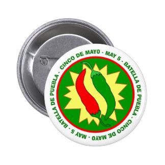 Insignia de las pimientas de chile de Cinco de May Chapa Redonda De 5 Cm