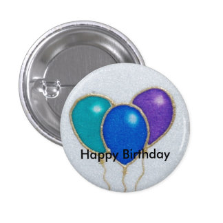 Insignia del botón del feliz cumpleaños del globo