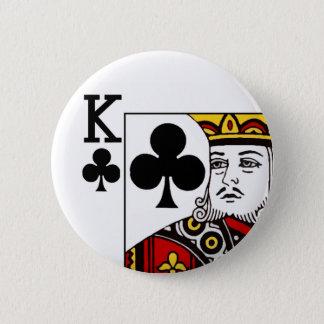 Insignia del botón del naipe de rey Of Clubs