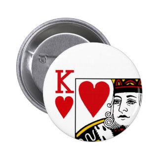 Insignia del botón del naipe de rey Of Hearts