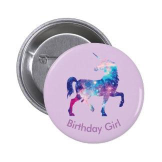 Insignia del chica del cumpleaños del unicornio chapa redonda de 5 cm