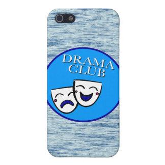 Insignia del club del drama con el fondo estático iPhone 5 cárcasas