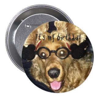 Insignia del cumpleaños con el perro de aguas loco chapa redonda de 7 cm