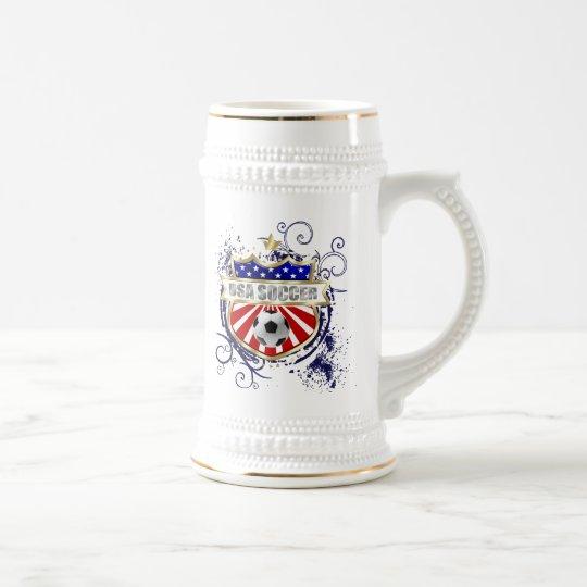 Insignia del emblema del fútbol de los E.E.U.U. Jarra De Cerveza