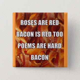 Insignia divertida del botón del poema del tocino