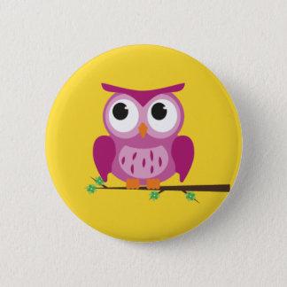 Insignia púrpura del botón del búho