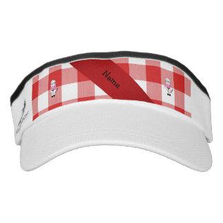 Inspector blanco rojo personalizado del cocinero visera
