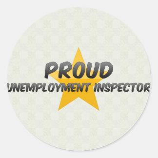 Inspector orgulloso del desempleo pegatina redonda
