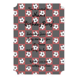 Inspectores rojos del balón de fútbol invitación 12,7 x 17,8 cm