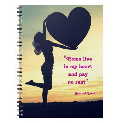 Inspiración del amor del corazón de la cita del am libro de apuntes con espiral