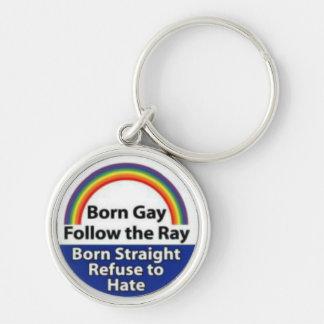 Inspiración Keychain. del orgullo gay Llavero Redondo Plateado