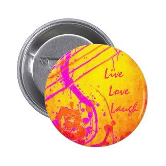 Inspirado espiritual - vivo, ame, ría chapa redonda 5 cm
