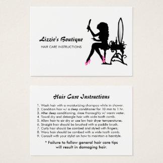 Instrucciones de cuidado del cabello femeninas del tarjeta de visita