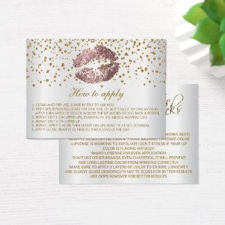 Instrucciones polvorientas del uso de los labios tarjeta de visita