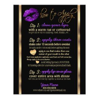 Instrucciones púrpuras del labio del brillo flyer