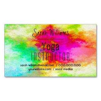 Instructor colorido de la yoga de la acuarela con tarjetas de visita magnéticas