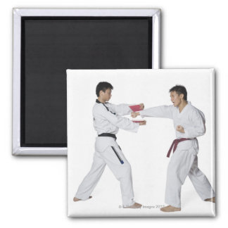 Instructor de sexo masculino del karate que enseña imán para frigorifico