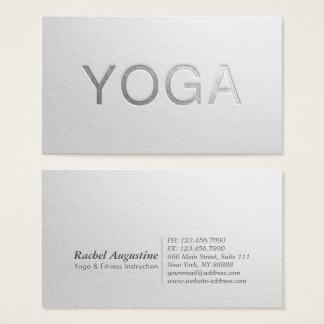 Instructor grabado en relieve plata blanca mínima tarjeta de negocios