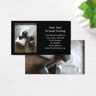 Instructor o toalla y agua personal de Dumbells de Tarjeta De Negocios