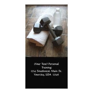 Instructor o toalla y agua personal de Dumbells de Tarjetas Fotograficas Personalizadas