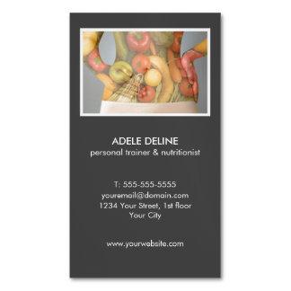 Instructor y nutricionista personales grises tarjetas de visita magnéticas (paquete de 25)