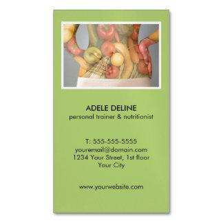 Instructor y nutricionista personales verdes tarjetas de visita magnéticas (paquete de 25)