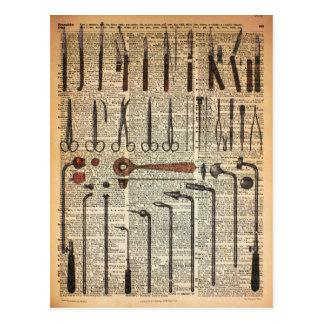 Instrumentos médicos del vintage postal