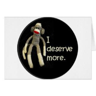 Insultos del mono del calcetín tarjeta de felicitación