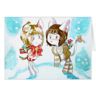 Intercambio del regalo del gatito tarjeta de felicitación