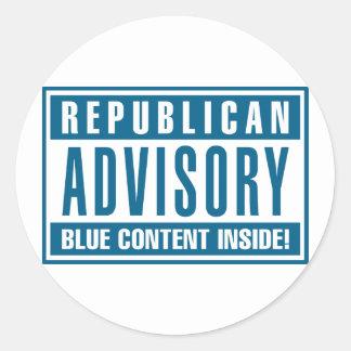 Interior azul consultivo republicano del contenido pegatinas