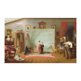 Interior con los retratos de Thomas Le Clear Impresiones En Lona