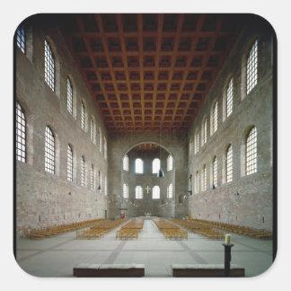 Interior de la basílica, ANUNCIO del siglo IV Pegatina Cuadrada