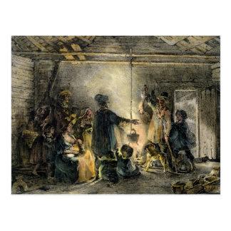 Interior de la choza de un minero de carbón tarjeta postal