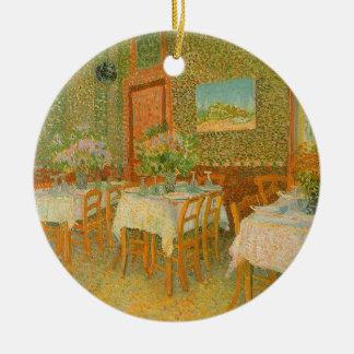 Interior de un restaurante de Vincent van Gogh Adorno Redondo De Cerámica