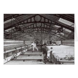 Interior de una fábrica de algodón tarjeta