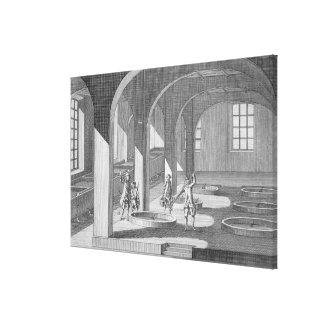 Interior de una fábrica de jabón, ejemplo para un  impresión en lona