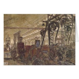 Interior de una fábrica de las municiones, 1916-17 tarjeta