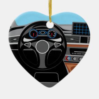 Interior del automóvil adorno navideño de cerámica en forma de corazón