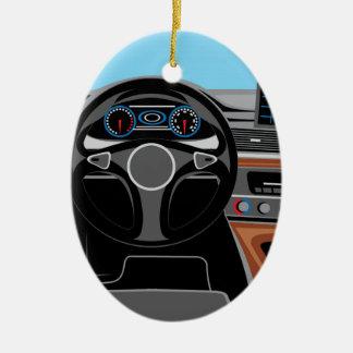 Interior del automóvil adorno navideño ovalado de cerámica