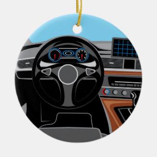 Interior del automóvil adorno navideño redondo de cerámica