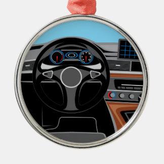 Interior del automóvil adorno navideño redondo de metal