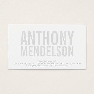 Intrépido simple blanco tarjeta de negocios