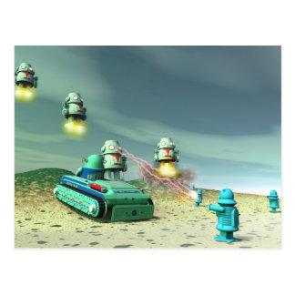 Invasión del robot desde arriba de la postal