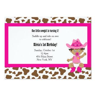 Inviation del cumpleaños de la vaquera invitación 12,7 x 17,8 cm