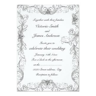 Inviations blancos y negros elegantes del boda del invitación 12,7 x 17,8 cm