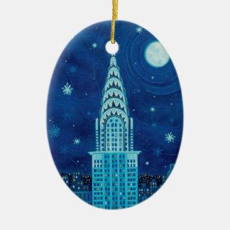 Invierno en el ornamento del óvalo de Nueva York
